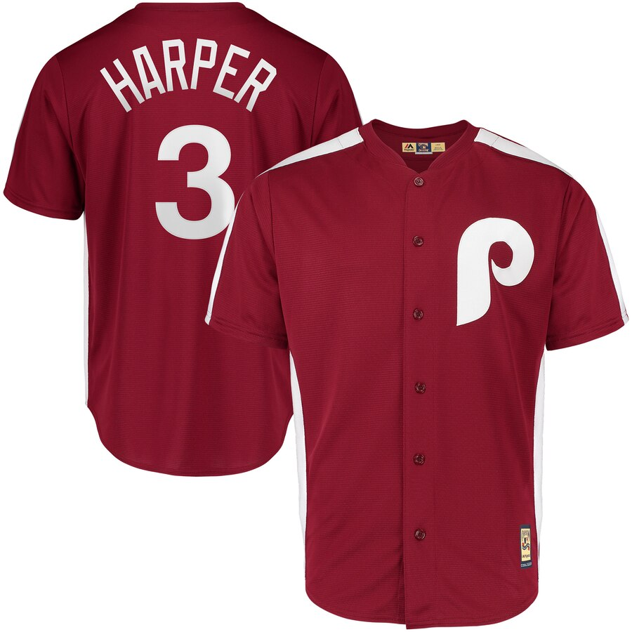 Philadelphia Phillies #3 Bryce Harper Majestic 1979 Saturday Night Special Cool Base Cooperstown Player Jersey Maroon