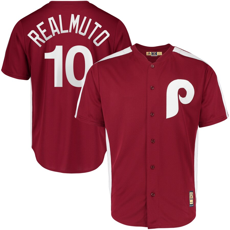 Philadelphia Phillies #10 JT Realmuto Majestic 1979 Saturday Night Special Cool Base Cooperstown Player Jersey Maroon
