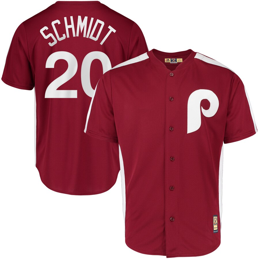 Philadelphia Phillies #20 Mike Schmidt Majestic 1979 Saturday Night Special Cool Base Cooperstown Player Jersey Maroon