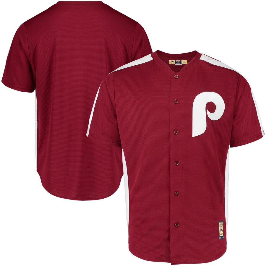 Philadelphia Phillies Blank Majestic 1979 Saturday Night Special Cool Base Cooperstown Team Jersey Maroon