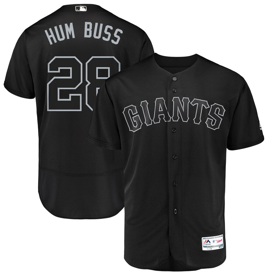 San Francisco Giants #28 Buster Posey Hum Buss Majestic 2019 Players' Weekend Flex Base Authentic Player Jersey Black
