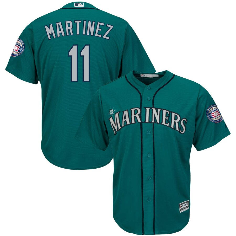 Seattle Mariners #11 Edgar Martinez Majestic 2019 Hall of Fame Induction Alternate Cool Base Player Jersey Northwest Green