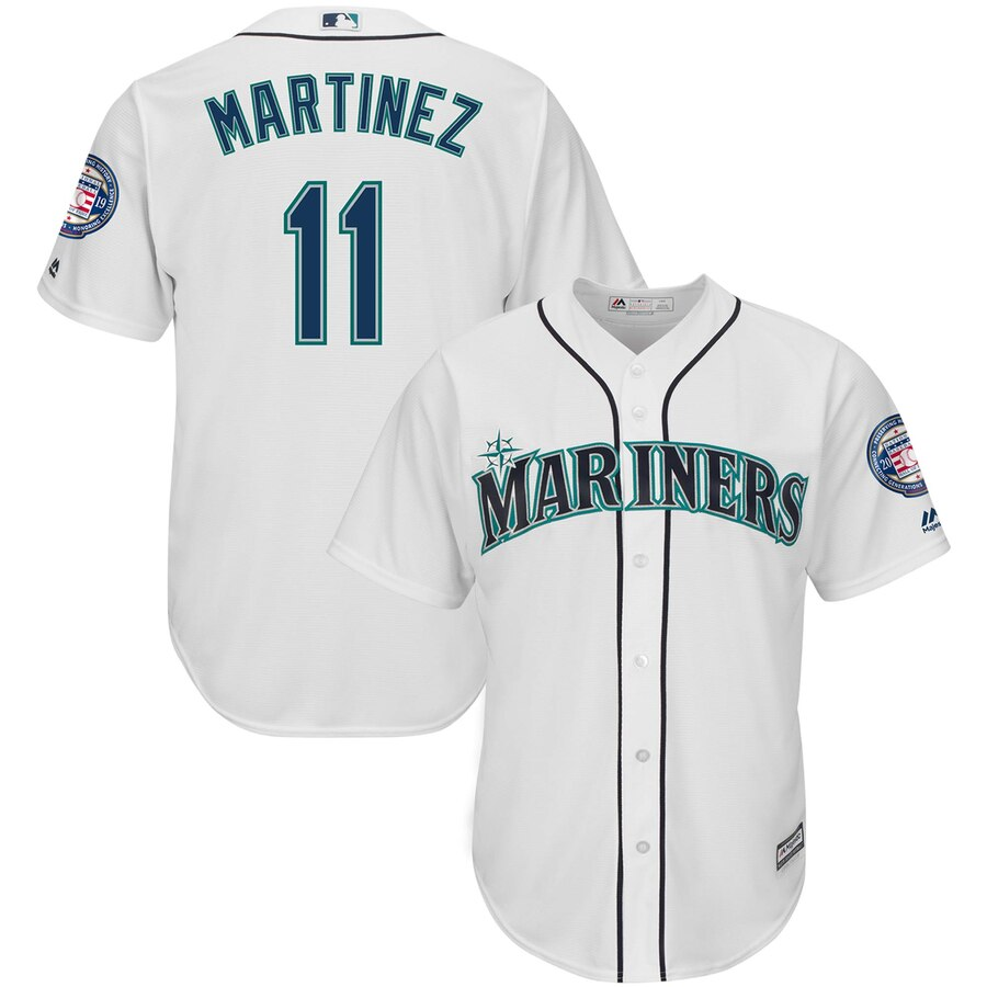 Seattle Mariners #11 Edgar Martinez Majestic 2019 Hall of Fame Induction Home Cool Base Player Jersey White
