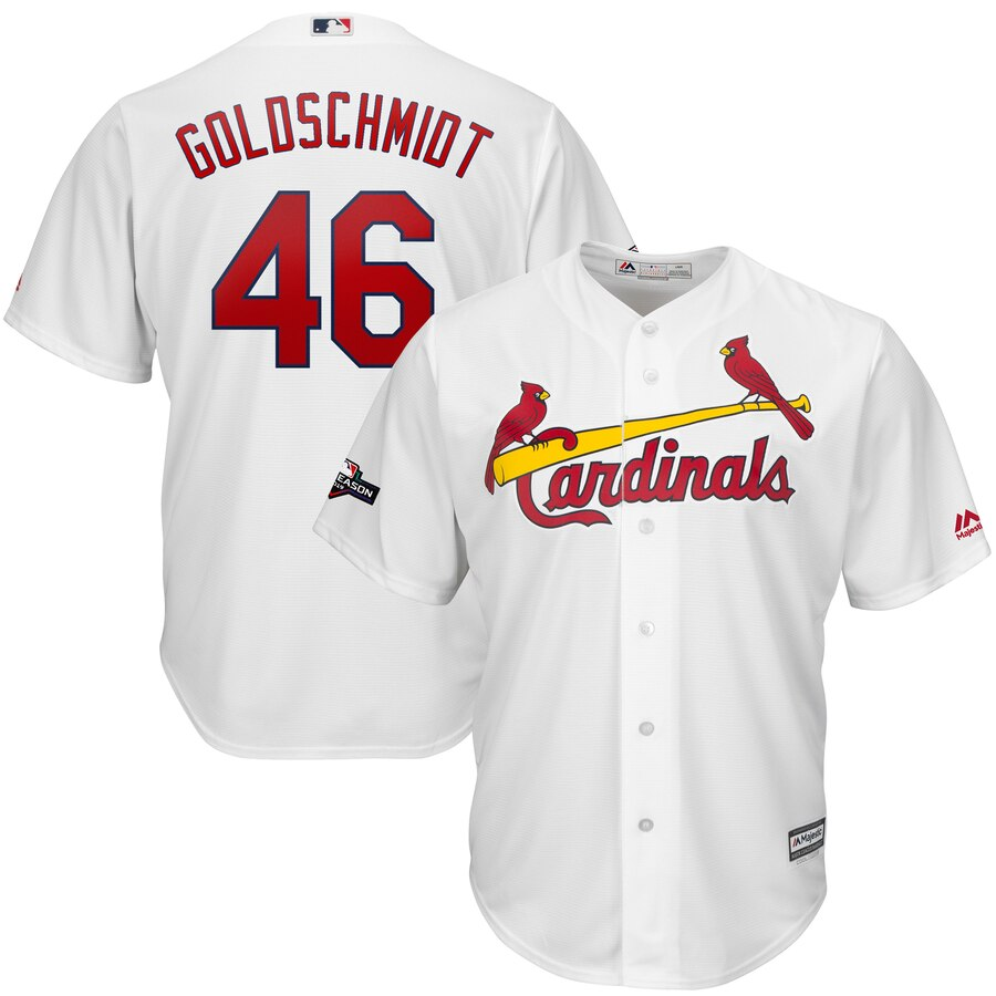 St. Louis Cardinals #46 Paul Goldschmidt Majestic 2019 Postseason Official Cool Base Player Jersey White