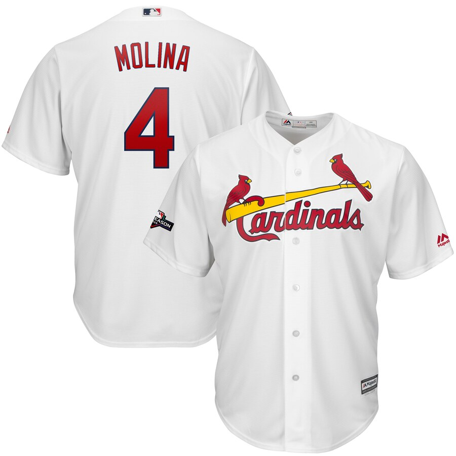 St. Louis Cardinals #4 Yadier Molina Majestic 2019 Postseason Official Cool Base Player Jersey White
