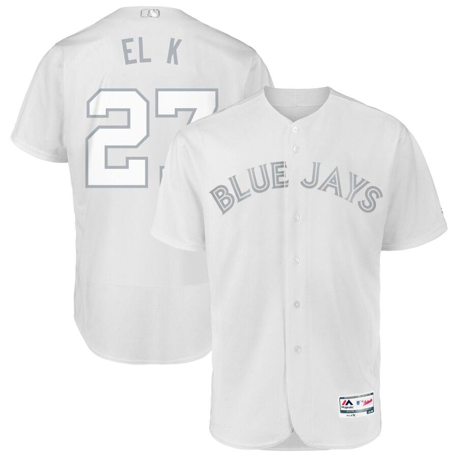 Toronto Blue Jays #27 Vladimir Guerrero Jr. El K Majestic 2019 Players' Weekend Flex Base Authentic Player Jersey White