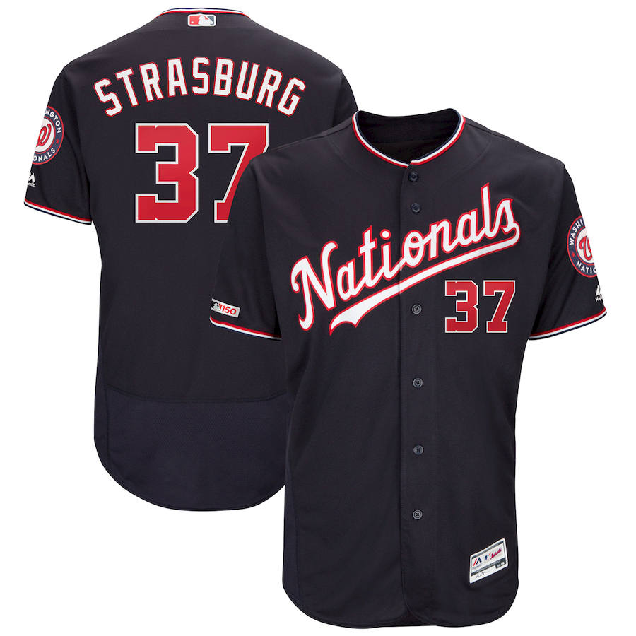 Washington Nationals #37 Stephen Strasburg Majestic Alternate Authentic Collection Flex Base Player Jersey Navy