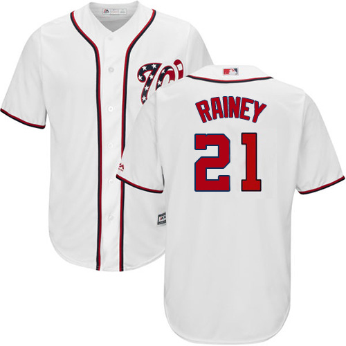Nationals #21 Tanner Rainey White New Cool Base Stitched MLB Jersey