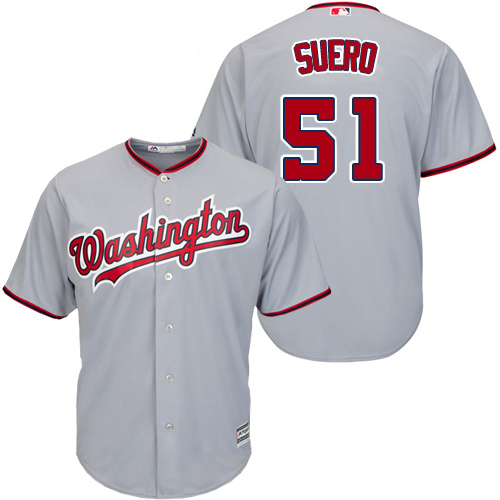 Nationals #51 Wander Suero Grey New Cool Base Stitched MLB Jersey