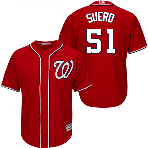 Nationals #51 Wander Suero Red New Cool Base Stitched MLB Jersey