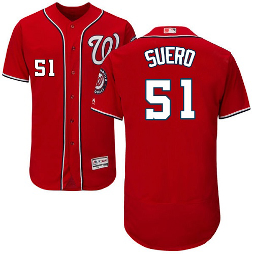 Nationals #51 Wander Suero Red Flexbase Authentic Collection Stitched MLB Jersey