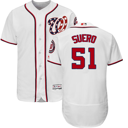 Nationals #51 Wander Suero White Flexbase Authentic Collection Stitched MLB Jersey