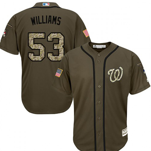 Nationals #53 Austen Williams Green Salute to Service Stitched MLB Jersey