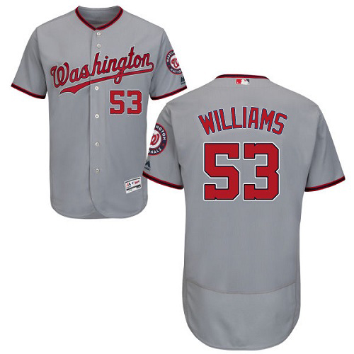Nationals #53 Austen Williams Grey Flexbase Authentic Collection Stitched MLB Jersey