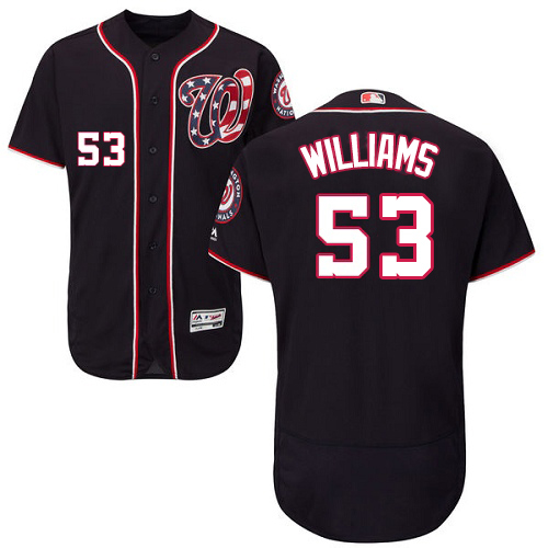 Nationals #53 Austen Williams Navy Blue Flexbase Authentic Collection Stitched MLB Jersey