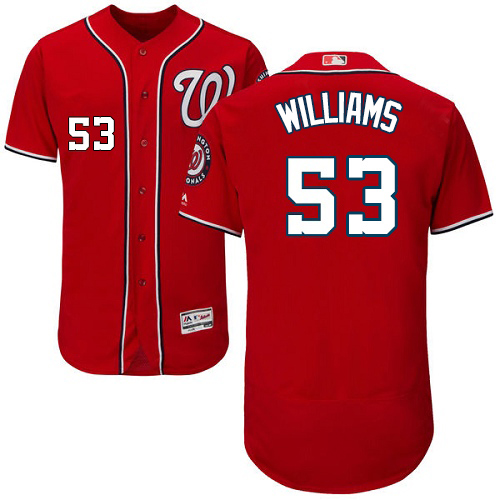 Nationals #53 Austen Williams Red Flexbase Authentic Collection Stitched MLB Jersey