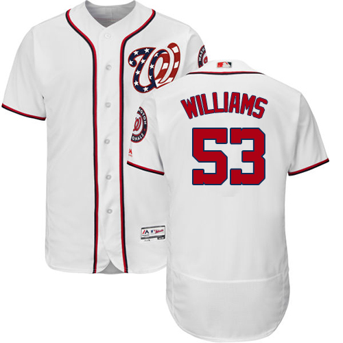 Nationals #53 Austen Williams White Flexbase Authentic Collection Stitched MLB Jersey