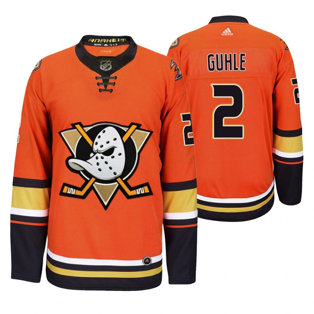 Anaheim Ducks #2 Brendan Guhle Men's 2019-20 Third Orange Alternate Stitched NHL Jersey