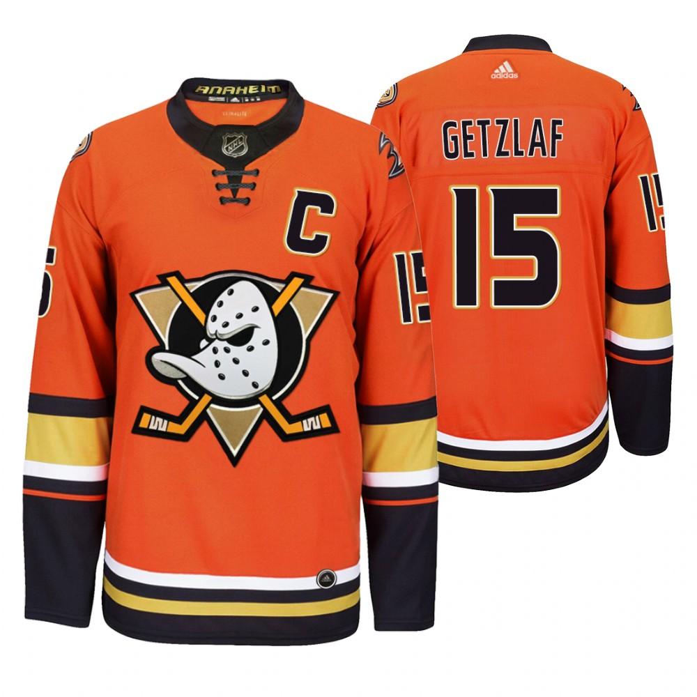 Anaheim Ducks #15 Ryan Getzlaf Men's 2019-20 Third Orange Alternate Stitched NHL Jersey
