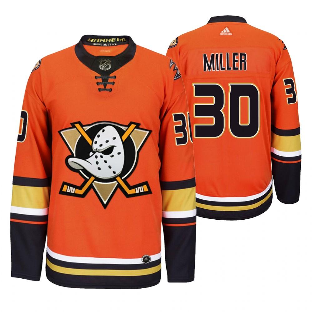 Anaheim Ducks #30 Ryan Miller Men's 2019-20 Third Orange Alternate Stitched NHL Jersey