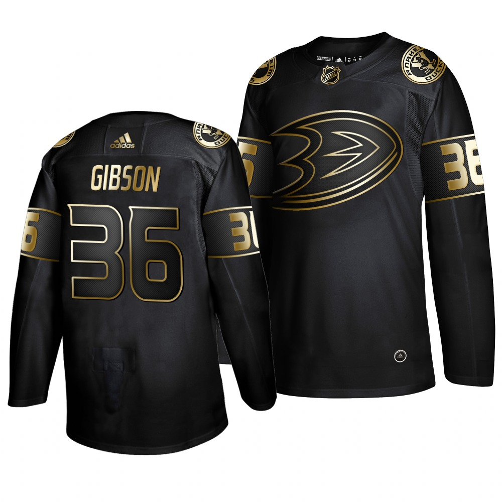 Adidas Ducks #36 John Gibson Men's 2019 Black Golden Edition Authentic Stitched NHL Jersey