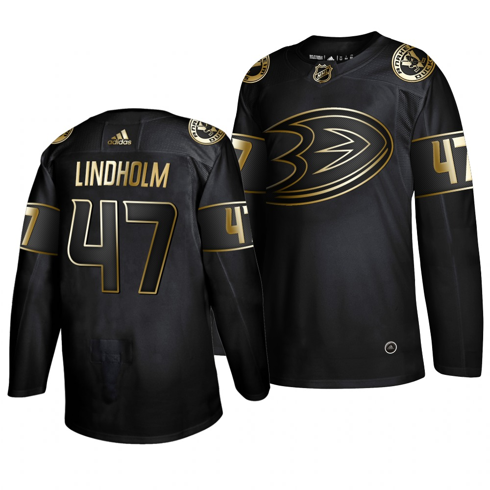 Adidas Ducks #47 Hampus Lindholm Men's 2019 Black Golden Edition Authentic Stitched NHL Jersey