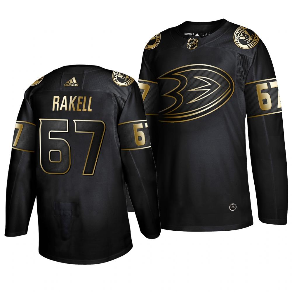 Adidas Ducks #67 Rickard Rakell Men's 2019 Black Golden Edition Authentic Stitched NHL Jersey
