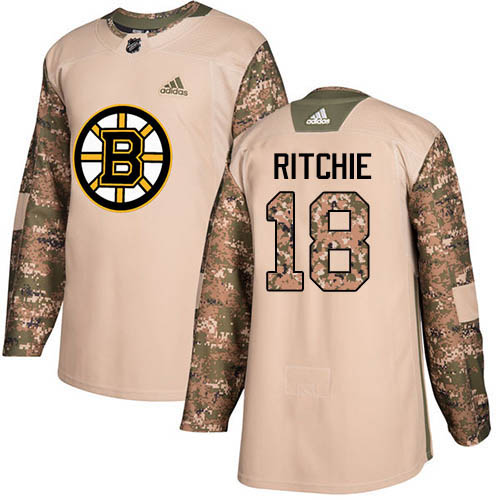 Adidas Bruins #18 Brett Ritchie Camo Authentic 2017 Veterans Day Stitched NHL Jersey