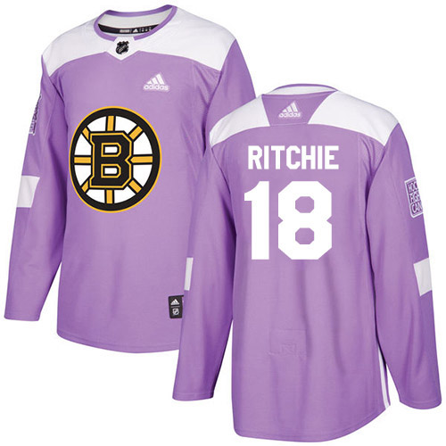 Adidas Bruins #18 Brett Ritchie Purple Authentic Fights Cancer Stitched NHL Jersey