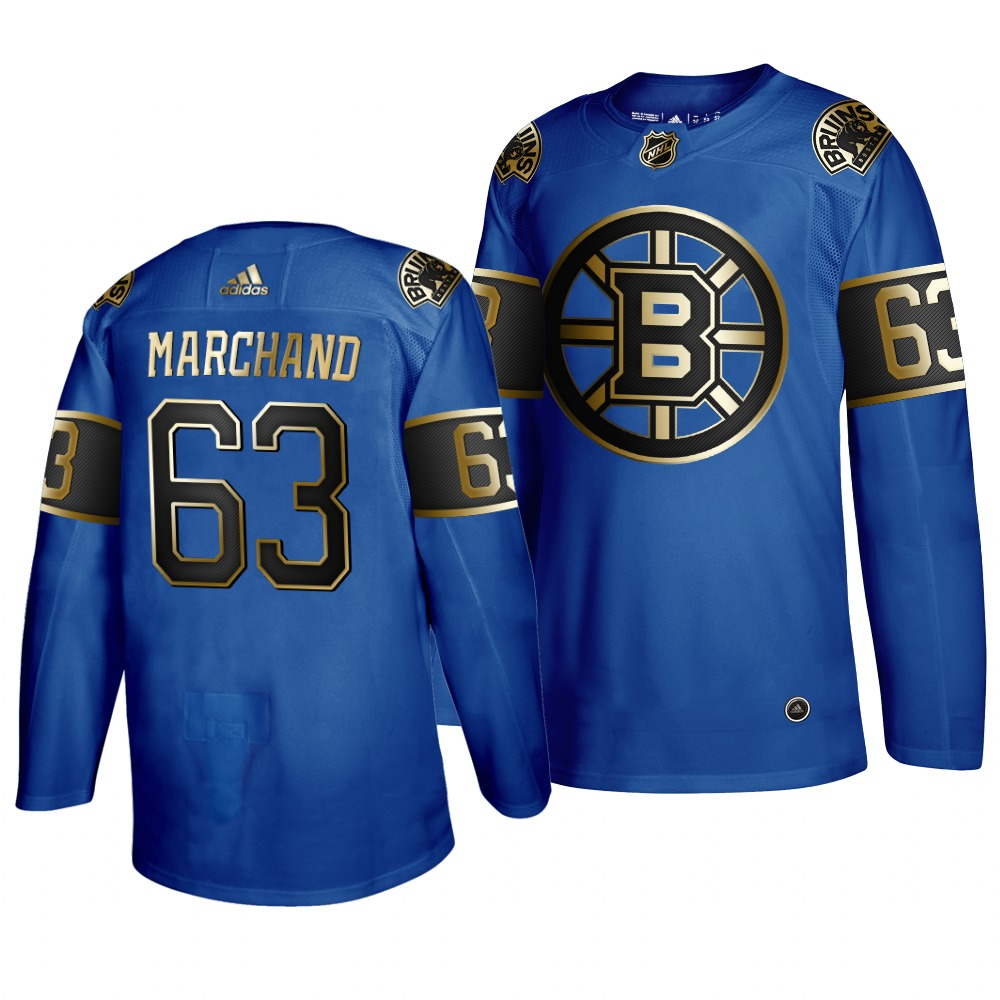 Adidas Bruins #63 Brad Marchand 2019 Father's Day Black Golden Men's Authentic NHL Jersey Royal