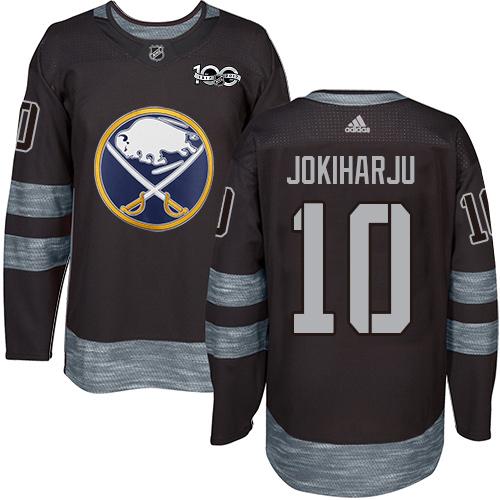 Adidas Sabres #10 Henri Jokiharju Black 1917-2017 100th Anniversary Stitched NHL Jersey