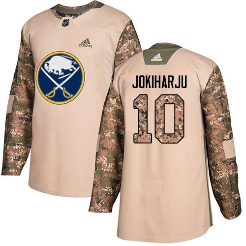 Adidas Sabres #10 Henri Jokiharju Camo Authentic 2017 Veterans Day Stitched NHL Jersey