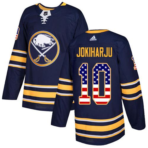 Adidas Sabres #10 Henri Jokiharju Navy Blue Home Authentic USA Flag Stitched NHL Jersey