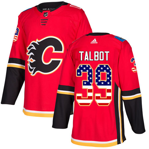 Adidas Flames #39 Cam Talbot Red Home Authentic USA Flag Stitched NHL Jersey