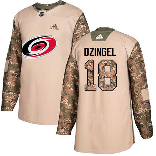 Adidas Hurricanes #18 Ryan Dzingel Camo Authentic 2017 Veterans Day Stitched NHL Jersey