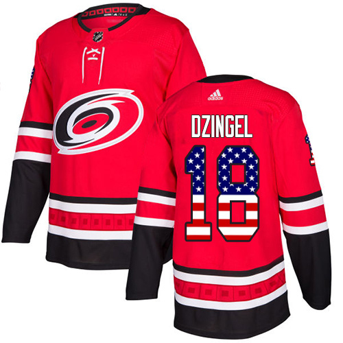 Adidas Hurricanes #18 Ryan Dzingel Red Home Authentic USA Flag Stitched NHL Jersey