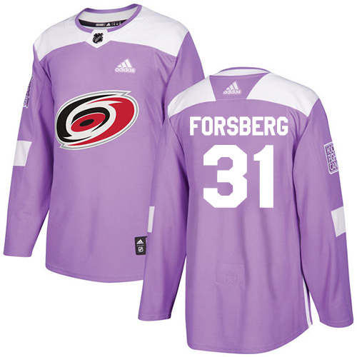 Adidas Hurricanes #31 Anton Forsberg Purple Authentic Fights Cancer Stitched NHL Jersey