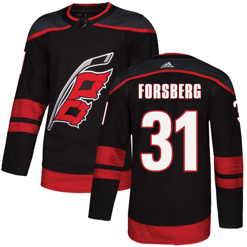 Adidas Hurricanes #31 Anton Forsberg Black Alternate Authentic Stitched NHL Jersey