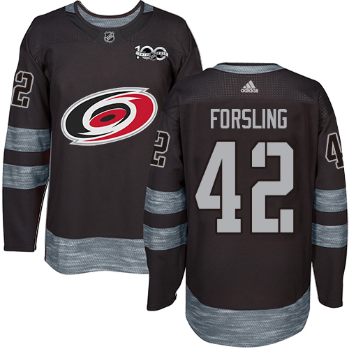 Adidas Hurricanes #42 Gustav Forsling Black 1917-2017 100th Anniversary Stitched NHL Jersey