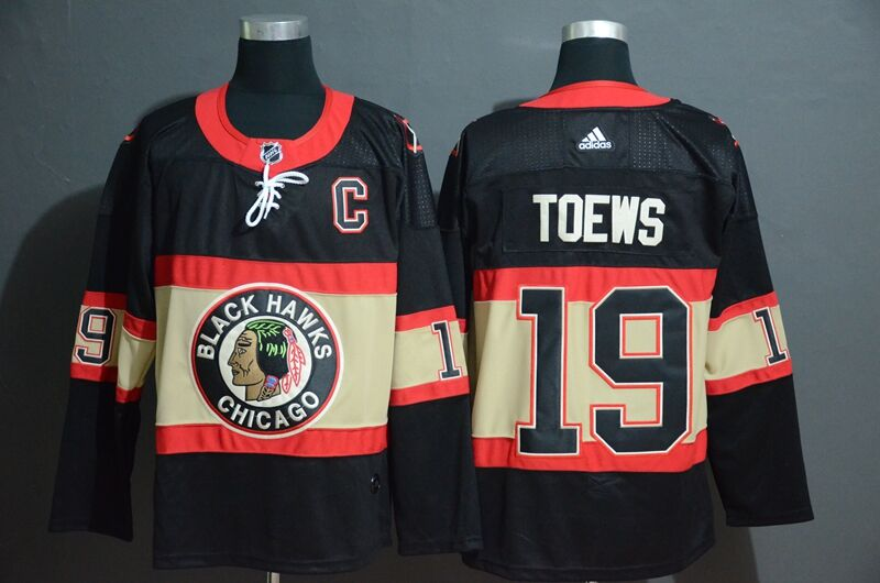 Adidas Blackhawks #19 Jonathan Toews Men's Black Classic Retro Stitched NHL Jersey