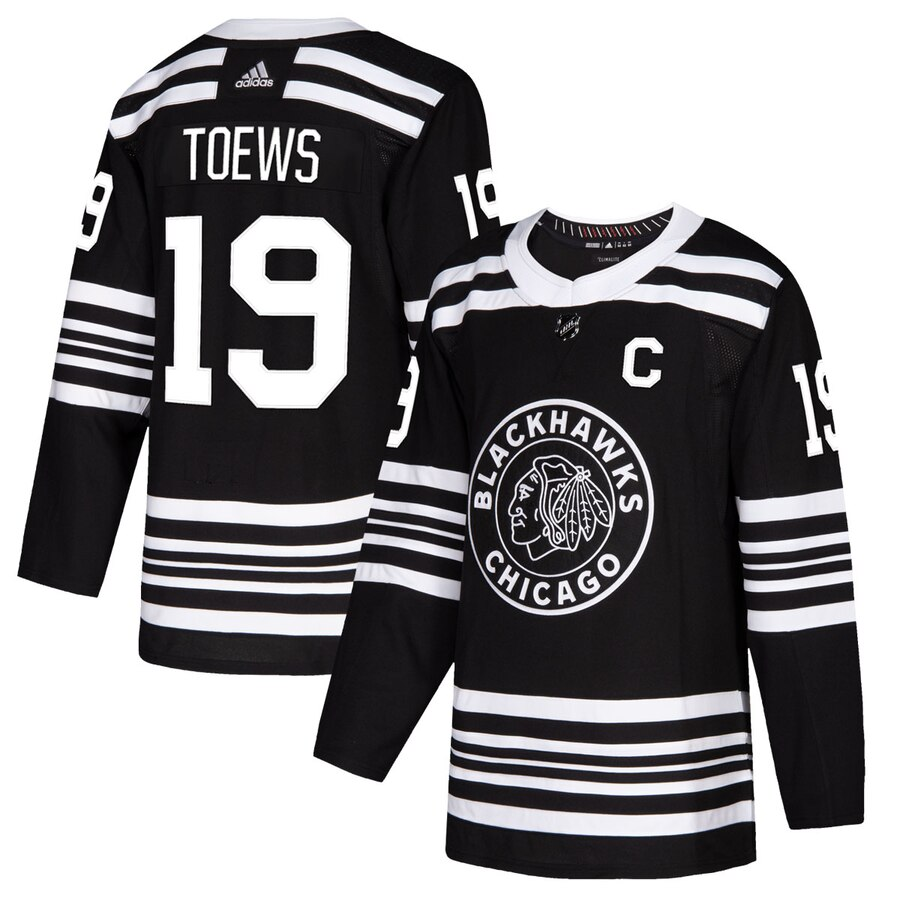 Chicago Blackhawks #19 Jonathan Toews Men's Adidas Black Alternate 2019-20 Authentic Player NHL Jersey