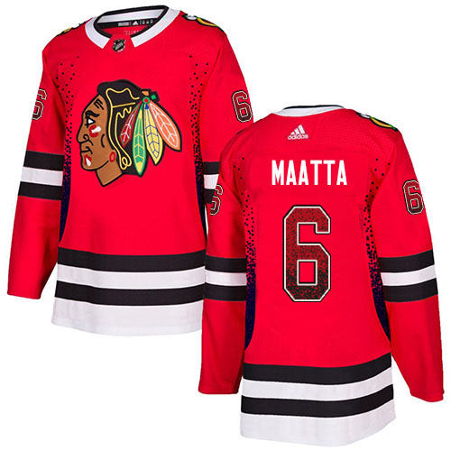 Adidas Blackhawks #6 Olli Maatta Red Home Authentic Drift Fashion Stitched NHL Jersey