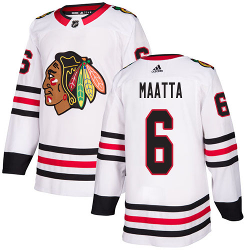 Adidas Blackhawks #6 Olli Maatta White Road Authentic Stitched NHL Jersey
