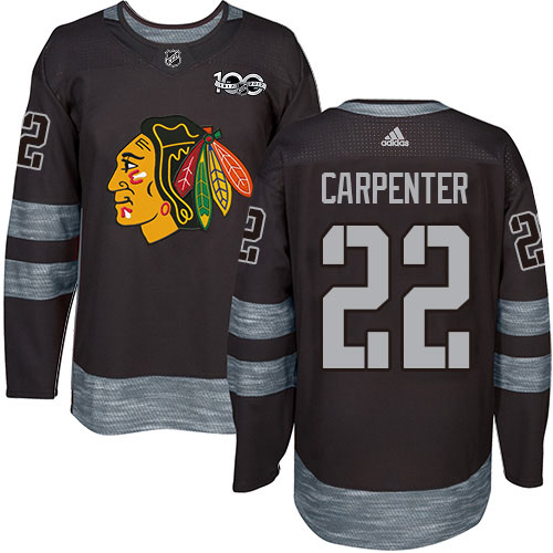 Adidas Blackhawks #22 Ryan Carpenter Black 1917-2017 100th Anniversary Stitched NHL Jersey