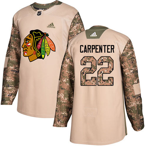 Adidas Blackhawks #22 Ryan Carpenter Camo Authentic 2017 Veterans Day Stitched NHL Jersey