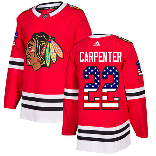 Adidas Blackhawks #22 Ryan Carpenter Red Home Authentic USA Flag Stitched NHL Jersey