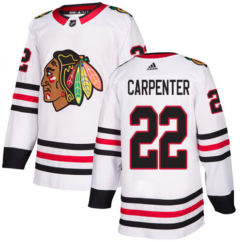 Adidas Blackhawks #22 Ryan Carpenter White Road Authentic Stitched NHL Jersey
