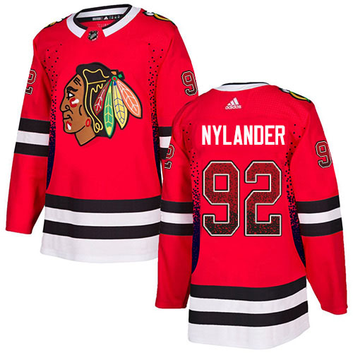Adidas Blackhawks #92 Alexander Nylander Red Home Authentic Drift Fashion Stitched NHL Jersey