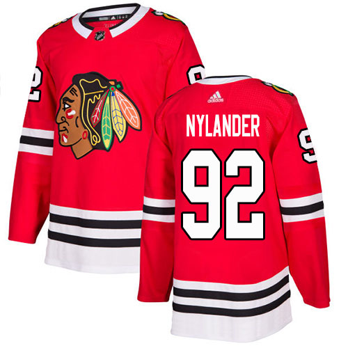 Adidas Blackhawks #92 Alexander Nylander Red Home Authentic Stitched NHL Jersey