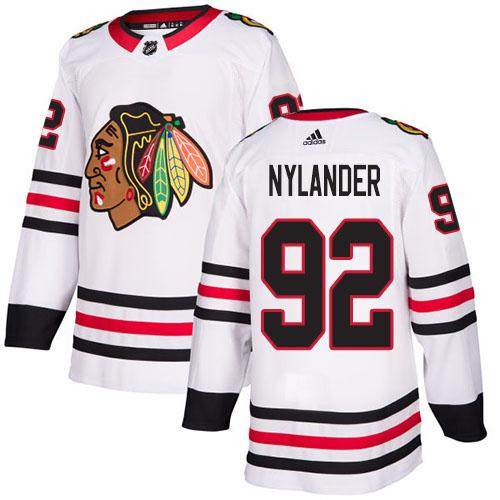 Adidas Blackhawks #92 Alexander Nylander White Road Authentic Stitched NHL Jersey